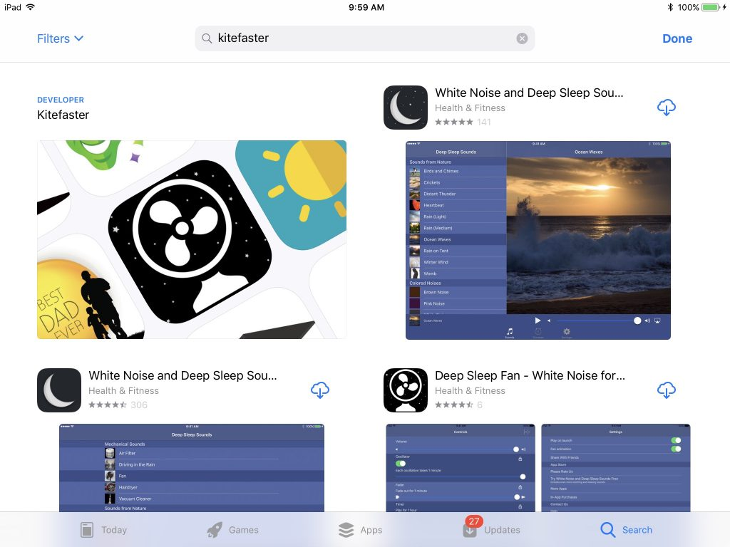 Kitefaster | iOS 11 App Store Search Results Include