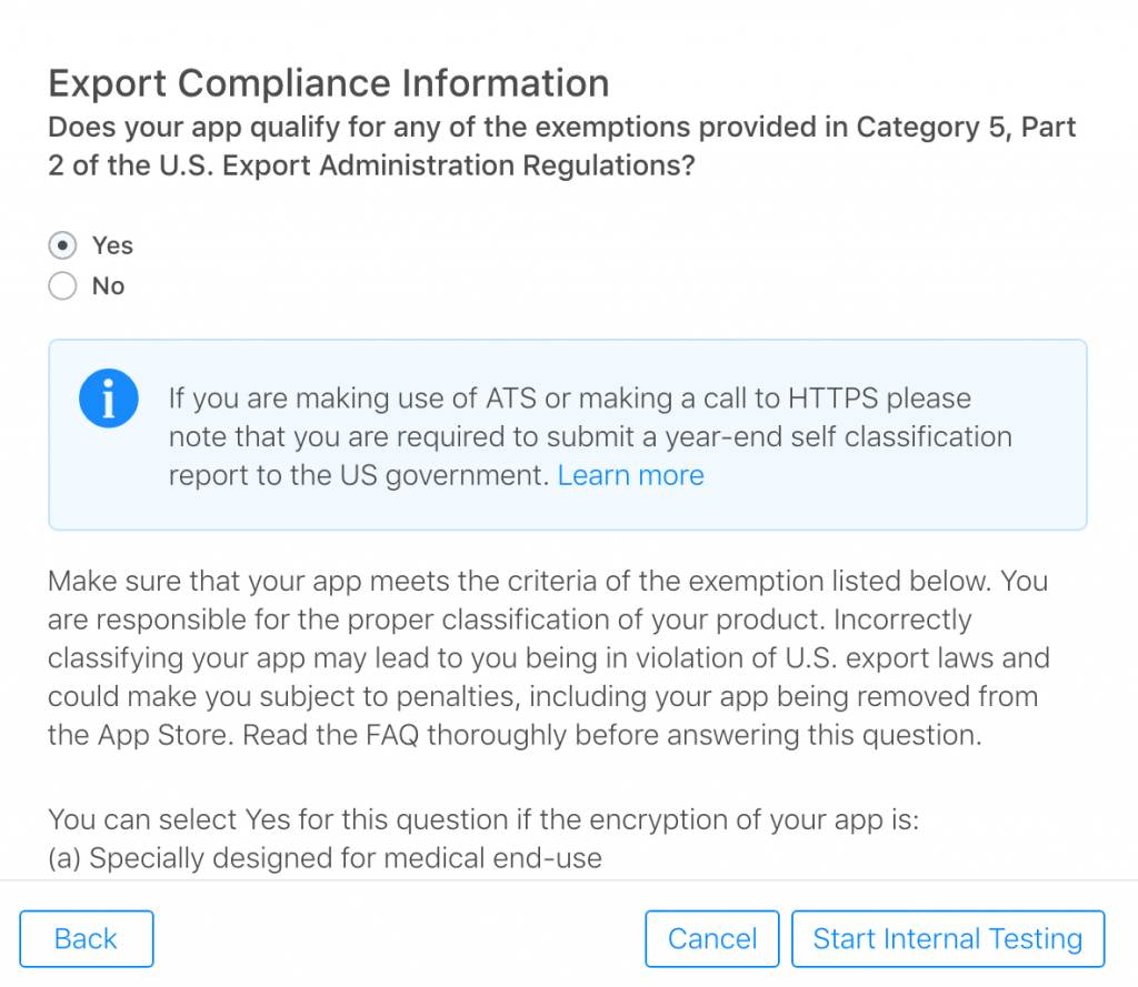 Kitefaster Encryption Export Compliance For Ios Apps